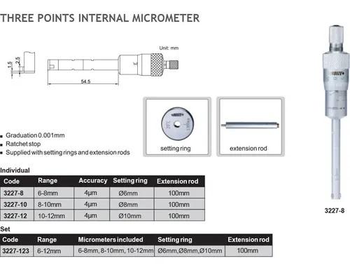 Micrometro interior digital 3 puntos